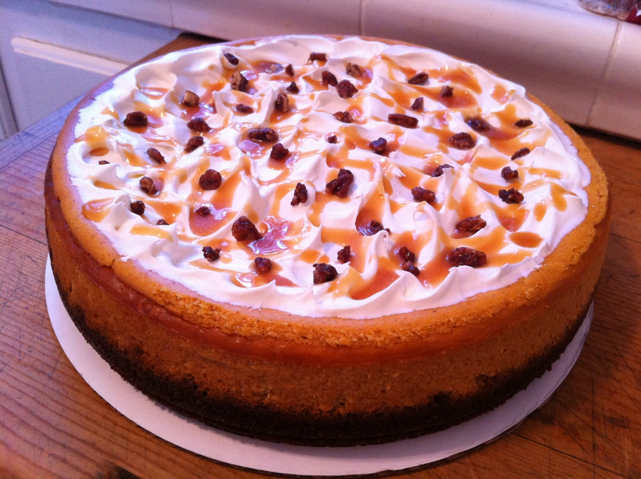 Topped with low-fat whipped cream, candied pecan pieces and drizzled ...