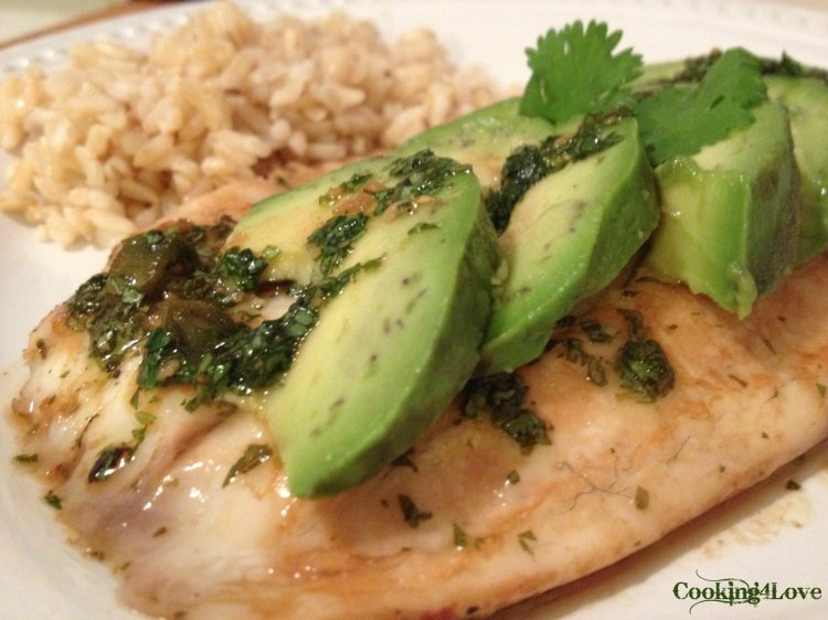 Tilapia with Cilantro Sauce and Avocado