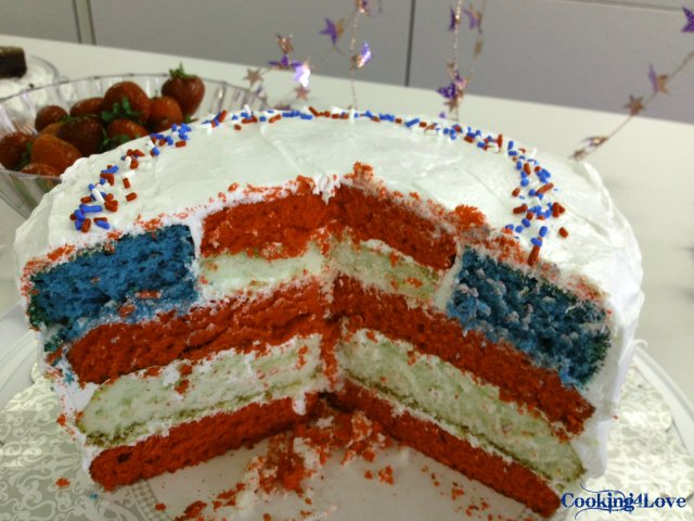 Red White And Blue Layered Flag Cake Cooking For Love