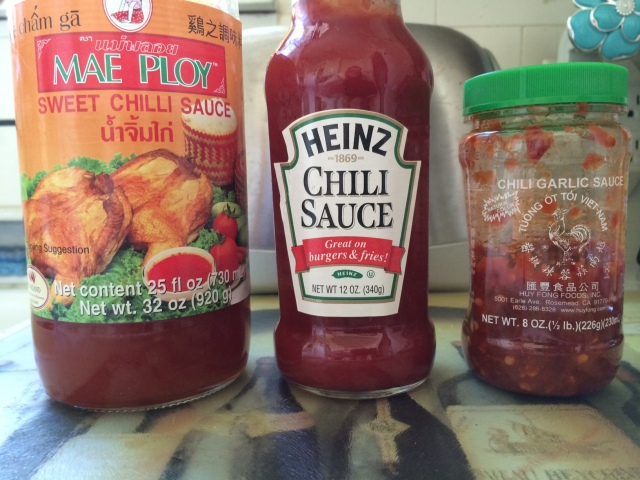 The sweet chili sauce and the chili garlic sauce will add some heat!