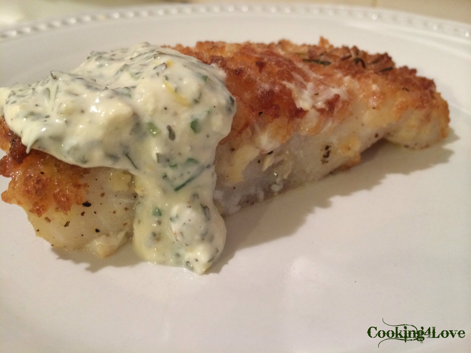 Baked cod with basil chive yogurt sauce cooking for love for How to bake cod fish in the oven