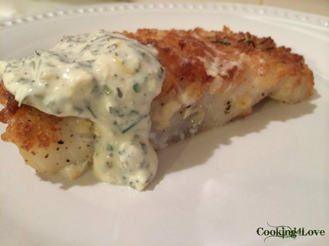 Cod with Basil Chive Yogurt Sauce